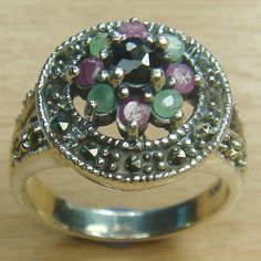 Massjewelry - Round Cut Genuine Ruby Emerald Sapphire 925 Sterling Silver Cocktail Ring