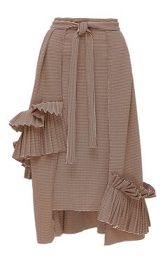 Medium kika vargas stripe pleated ruffle applique a line skirt