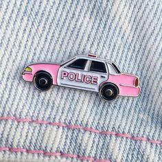 Pink Cop Car Pin - Laser Kitten, LLC