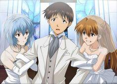 Rei, shinji y Asuka Neon Genesis Evangelion, Skullgirls, Evangelion Shinji, Asuka Langley Soryu, Anime Wedding, Good Anime Series, Rei Ayanami, Mecha Anime, Anime Japan