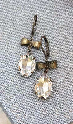 Rhinestone Earrings Vintage White Clear Crystal