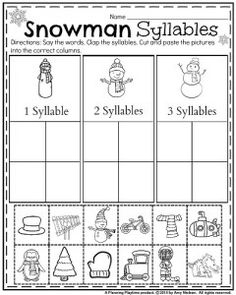 January kindergarten Snowman Syllables Worksheet. Say the words. Clap the words. Cut and paste the pictures.