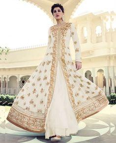 Nargis Fakri Daisy White Designer Anarkali Suit 7318B