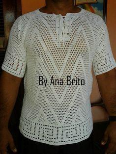 Oi pessoal,boa noite!  Tudo bem com vcs?Espero que sim.  A postagem de hoje é sobre uma blusa masculina em crochê,a primeira blusa masculina...