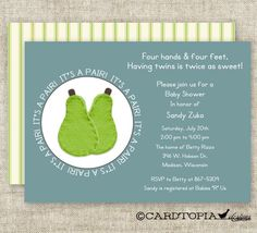 TWIN Boy BABY SHOWER Invitations It's A Pair  by CardtopiaDesigns