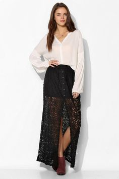 Pins And Needles Lace Button-Front Maxi Skirt #urbanoutfitters