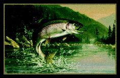 Rainbow Trout Hautman Brothers Fish Scenic Nylon Area Rug
