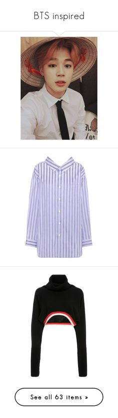 """""""BTS inspired"""" by melisaterlecki ❤ liked on Polyvore featuring bts, kpop, jimin, bts - jimin, tops, blue, blue collar shirt, blue top, stripe top and striped tops"""