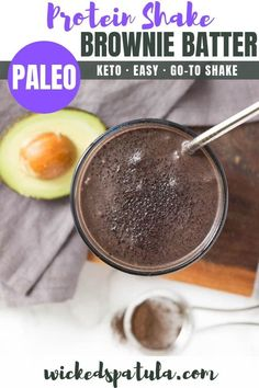 Brownie Batter Protein Shake - This Brownie Batter Protein Shake is a healthy dessert like shake that's packed full of healthy fats and protein! Totally dairy free and Paleo! #wickedspatula #paleo #shake #browniebatter