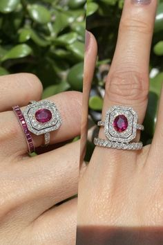 ruby and diamond ring. Edwardian style.