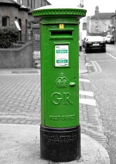 What a lovely green Irish post box! Erin Go Bragh, Irish Eyes Are Smiling, Irish Cottage, Irish Roots, Irish Celtic, Post Box, Luck Of The Irish, Letter Boxes, Post Office