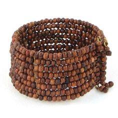 Memory Wire Wooden Bead Bracelet @ beachcats bargains