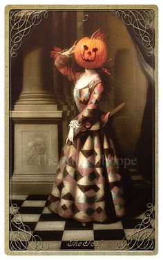 The Bride of the Headless Horseman. Also The Fool Card from our #halloween #tarot The Attic Shopping Trading Company Catalog » Halloween Tarot
