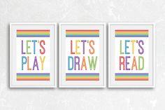 Playroom Decor, Playroom Wall Art, Playroom Prints, Let's Play, Let's Read, Let's Draw, Playroom Artwork, Kids Room Wall Art, Nursery Decor by printshopstudio on Etsy