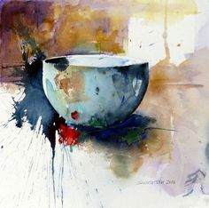 "Saatchi Art Artist: Stig O Sivertsen; Watercolor 2013 Painting ""Bowl and rose"""