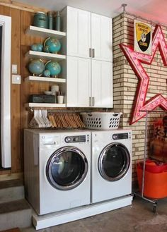 This laundry area is so fun! 😎 If your laundry room is also your garage, add some extra storage above the washer and dryer! Read Less Garage Laundry Rooms, Laundry Closet, Laundry Room Organization, Laundry Room Design, Laundry Decor, Laundry Baskets, Laundry Storage, Mud Rooms, Small Laundry Space
