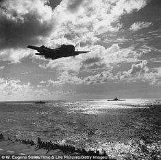 American aircraft in flight during battle against Japanese for Iwo Jima during WWII.  (Photo by W. Eugene Smith//Time Life Pictures/Getty Images)
