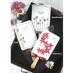 Fun floral designs make these white paper fans, great accents and useful favors for warm weather or outdoor weddings!