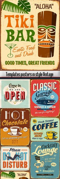 Szablony plakatów w stylu Vintage