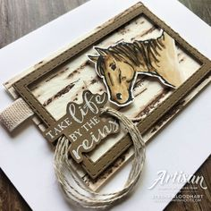 Let it Ride and Birch Background Stamps by Stampin' Up! Card by Stesha Bloodhart, Stampin' Hoot! Horse Cards, Stampin Up Catalog, Stamping Up Cards, Birthday Cards For Men, Animal Cards, Masculine Cards, Creative Cards, Homemade Cards, Making Ideas