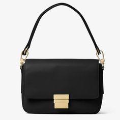 MICHAEL Michael Kors Madelyn Large Leather Shoulder Bag Black