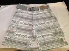 new with tags MEN'S ROUTE 66 CARGO gray striped SHORTS W/ BELT waist SIZE 30 #Route66 #Cargo