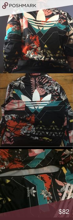 RARE FLORAL ADIDAS ZIP UP SWEATSHIRT sad to list this, so unique and trendy! Authentic adidas🥀 vibrant and colorful, size XS but could fit up to a medium adidas Tops Sweatshirts & Hoodies