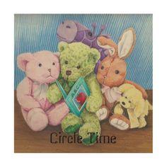 Stuff Animal Circle Time ABC Print on Wood Canvas