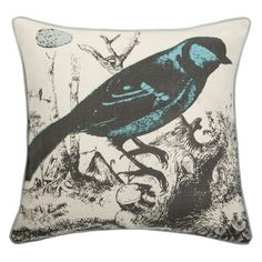 Thomas Paul Orinthology Aqua Linen Pillow @Zinc_Door