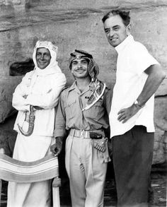 King Hussein of Jordan pays a visit to Peter O'Toole & David Lean during filming of Lawrence of Arabia.
