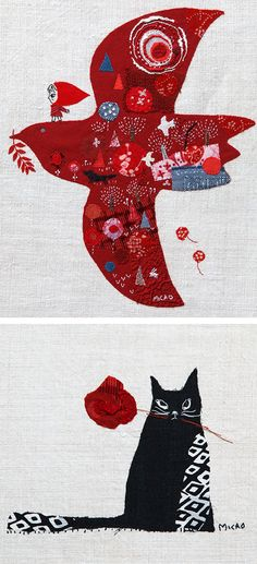 Appliqué illustrations by Mika Hirasa // embroidery // embroidered illustrations