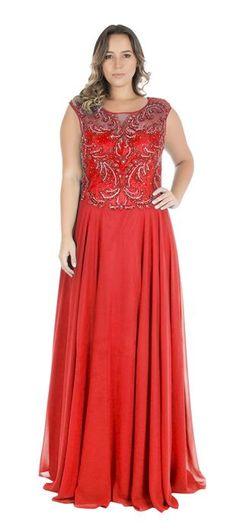 Vestido de Festa Longo Plus Size com Bordado Belucci  83f5072189a