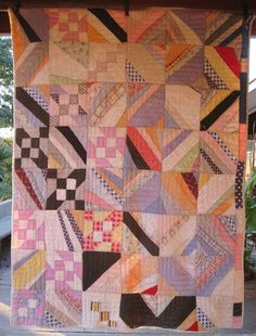 Abstract Improvisational Antique Quilt.