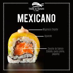 Publicidad Para Take A Sushi on Los Andes Portfolios Sushi Menu, My Sushi, Sushi Time, Mexican Sushi, Chicken Sushi, Sushi Roll Recipes, Food Menu Design, Sushi Plate, Sushi Design