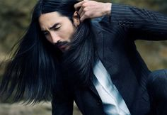 that's why i love long haired men. Beautiful Long Hair, Beautiful Boys, Tony Thornburg, Japanese Men, Pretty Eyes, Bearded Men, Pretty People, Poses, Long Hair Styles