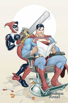 comics Superman Harlequin chainsaw