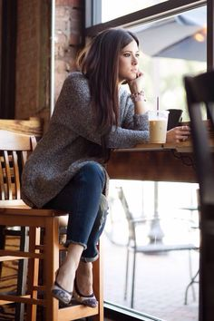 cafe - brunette - chillaxing with a chilled coffee