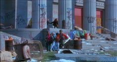 Twelve Monkeys (1995). One scene of a graffiti-covered ruined building was filmed at the then-abandoned Ridgeway branch of the Free Library of Philadelphia. http://www.imdb.com/title/tt0114746/