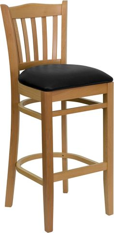 HERCULES Series Natural Wood Finished Vertical Slat Back Wooden Restaurant Bar Stool with Black Vinyl Seat XU-DGW0008BARVRT-NAT-BLKV-GG by Flash Furniture