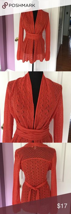 Anthropologie Knitted and Knotted coral cardigan S Beautiful shear coral cardigan by Knitted and Knotted. Great used condition. Anthropologie Tops