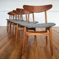 Mid Century Danish Oak and Teak Set of Six Dining Chairs Model / by Hans Wegner for Carl Hansen & Son in Kvadrat Wool - A wonderful set of six original dining chairs designed by Hans Wegner for Carl Hansen & Son, Cent Vintage Dining Chairs, Chaise Vintage, Dinning Chairs, Mid Century Dining Chairs, Modern Dining Chairs, Lounge Chairs, Side Chairs, Wooden Chairs, Beach Chairs