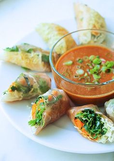 """Vegan GF sweet potato spring rolls with brown rice paper wrappers and """"peanut"""" satay"""