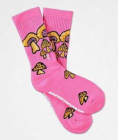 Add some trippy style into your daily outfits with the Vintage Shroom pink crew socks from Psockadelic. These bright pink crew socks feature jacquard knit mushrooms throughout in brown and black for a wild look. Ribbed knit uppers, an embroidered P logo a Funky Socks, Colorful Socks, Silly Socks, Work Socks, Calf Socks, Designer Socks, Streetwear, Fashion Socks, Bright Pink