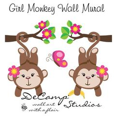 Pink Hanging Girl Monkeys Wall Mural Art Decal for baby jungle nursery or children's cute animals room decor #decampstudios