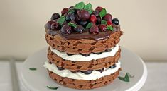 Black Forest Cherry Waffle Cake  tablespoon.com