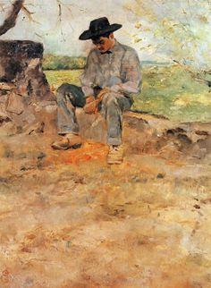 """""""셀레이랑의 젊은 루티 (Le Jeune Routy)"""" (1883)     로트렉이 대저택에서 살던 시절 그의 그림의 소재는 가족과 저택 주변의 풍경 그리고 저택에서 일하는 사람들이었다. 이 작품의 주인공은 그의 저택에서 일하던 소년이었다고 한다. 이렇게 주변 인물을 대상으로 사소한 일상을 포착하는 시선은 이후 로트렉이 활동 장소를 옮기고 나서 더욱 빛을 발한다."""