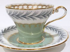 Antique Aynsley Tea Cup and Saucer, English Bone China Teacups, Tea Set…