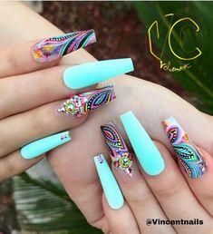New nails almond turquoise nailart 15 ideas Summer Acrylic Nails, Best Acrylic Nails, Acrylic Nail Designs, Nail Art Designs, Nails Design, Summer Stiletto Nails, Crazy Nail Designs, Matte Nails, Summer Nails
