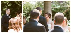 Outdoor garden wedding ceremony at the English Inn in Victoria BC.
