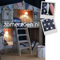 #boomhutbed #huisjesbed http://www.zomerzoen.nl/boomhutbed-steigerhout-daan.html